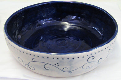 Handcrafted blue and white ceramic bowl