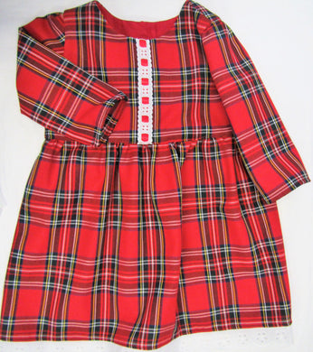 Handcrafted tartan lace and ribbons dress 18-24 months