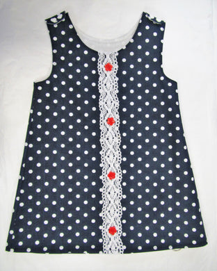 Handcrafted navy polka dot lace pinafore 18-24 months