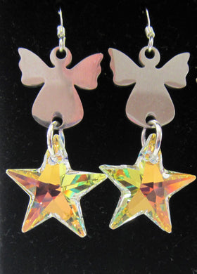 Handcrafted angel and swarovski crystal star 925 sterling silver