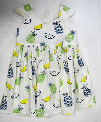 Handcrafted white pineapple dress 9-12 months