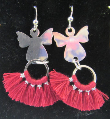 Handcrafted angel and red fan earrings 925 sterling silver