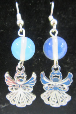 Handcrafted rainbow quartz angel 925 sterling silver hooks