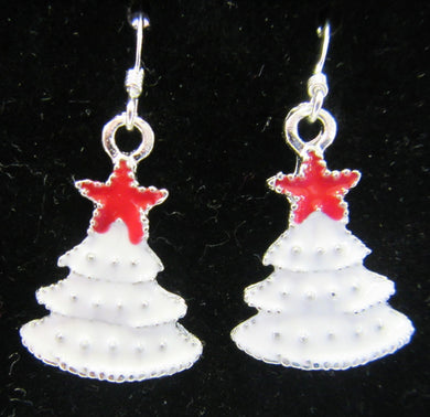Handcrafted white Christmas tree earrings on 925 sterling silver hooks