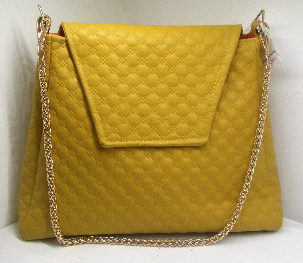 Beautiful handcrafted mustard handbag with gold chain handle