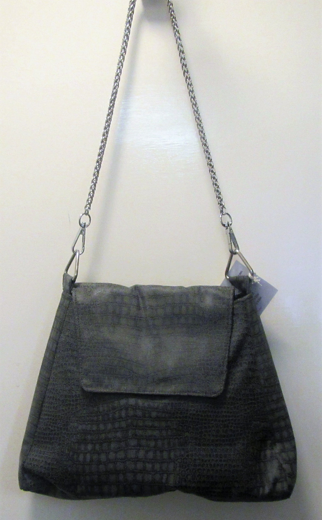 Beautiful handcrafted grey snake skin pattern handbag with silver chain handle