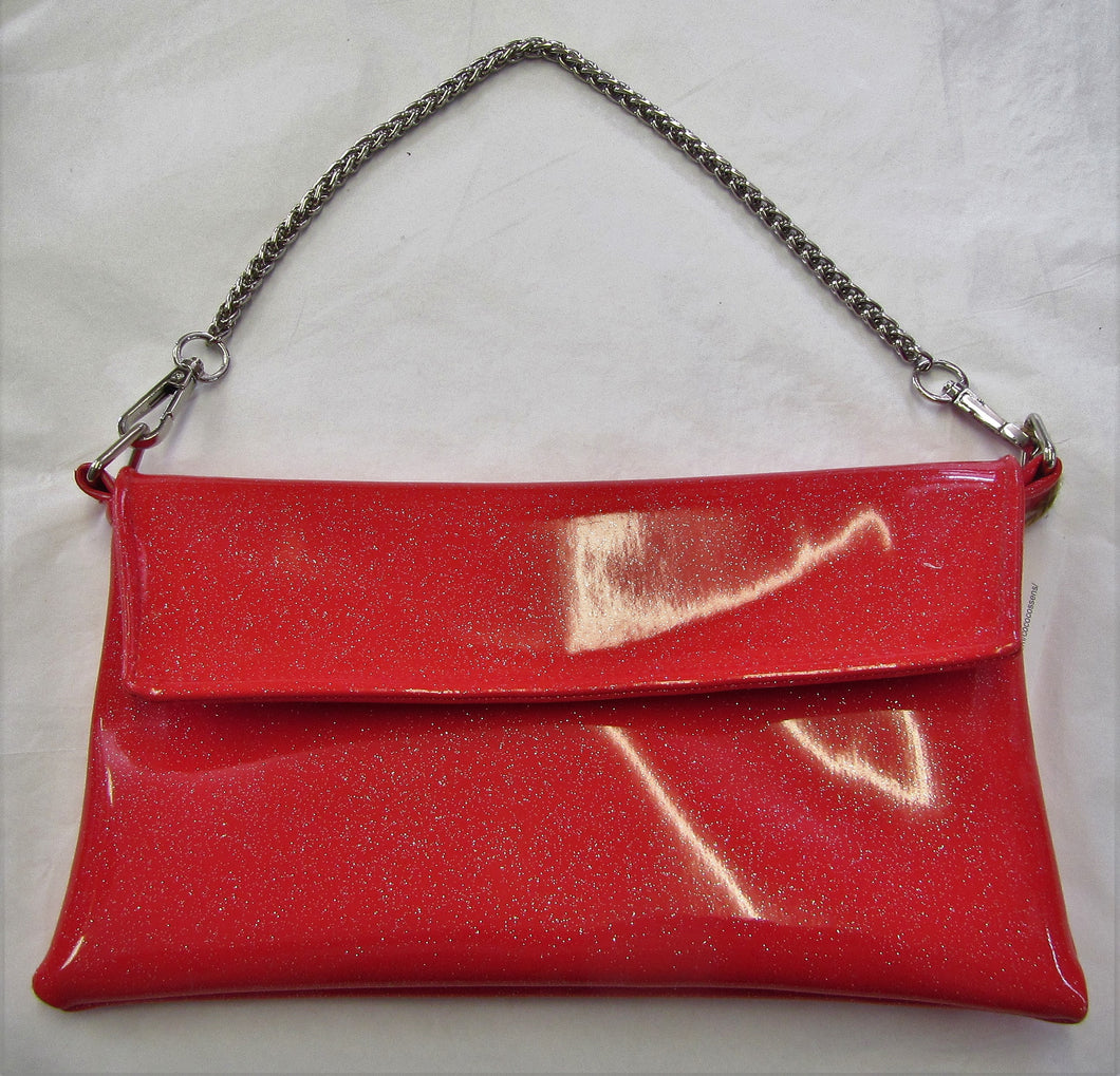Beautiful handcrafted red sparkle patent evening bag
