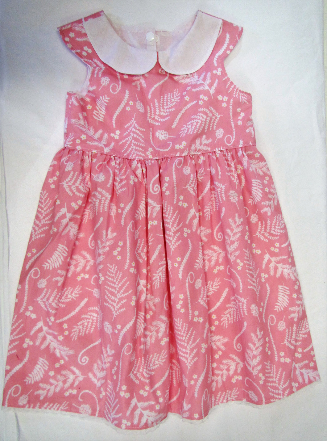Hand crafted pink and white fern dress 2-3 years