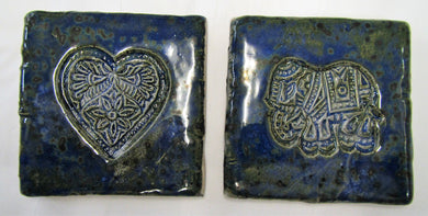 Handcrafted beautiful Ceramic elephant and heart coasters sets of 2 coasters