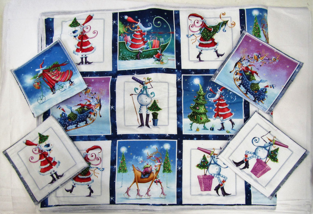 Beautiful handcrafted fabric Christmas table runner with 7 matching coasters