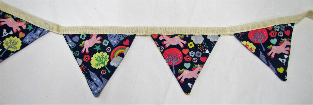 Beautiful handcrafted pink and blue unicorn and castles fabric bunting