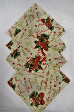Beautiful handcrafted set of 4 fabric Christmas napkins