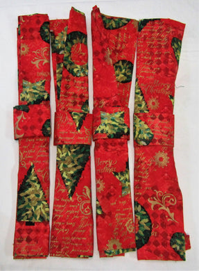Beautiful handcrafted sets of 4 fabric Christmas napkins with napkin rings