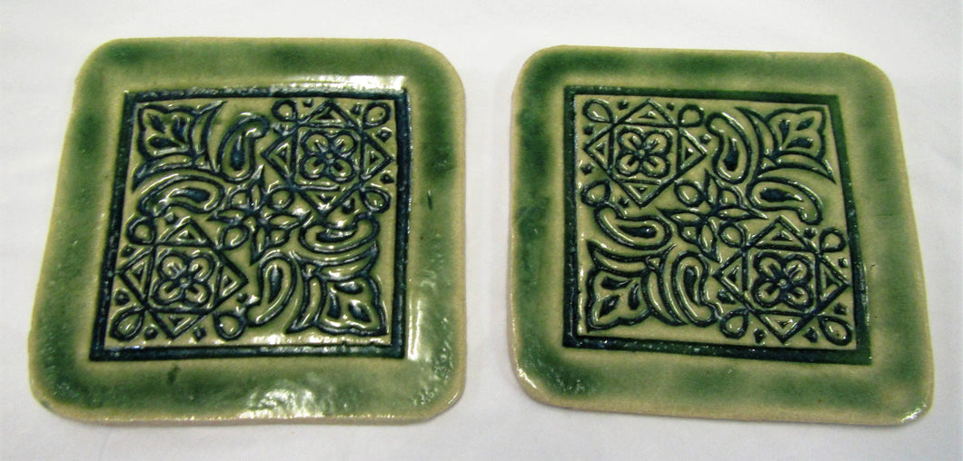 Handcrafted beautiful Ceramic Green patterned coasters sets of 2 coasters