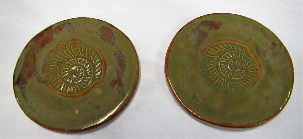 Handcrafted beautiful ceramic green ammonite coasters sets of 2 coasters
