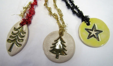 Various beautiful handcrafted ceramic set of 3 tree decorations