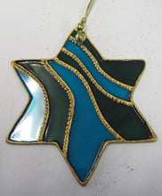 Beautiful hand painted glass star Christmas tree decorations
