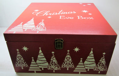 Handcrafted red large wooden Christmas Eve box