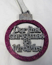 "Beautiful handcrafted Christmas glitter ""First Christmas as Mr & Mrs"" Tree decorations"