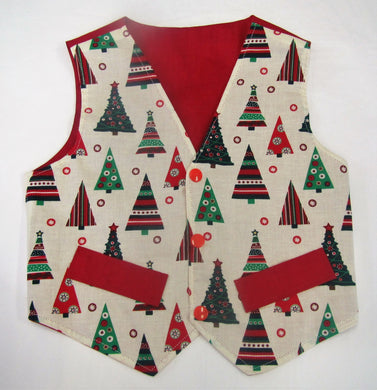 Handcrafted Christmas Tree waistcoat 2-3 years