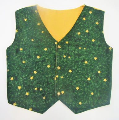 Handcrafted Christmas star green waistcoat 4-5 years