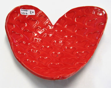 Ceramic Handcrafted hearts dish with heart pattern