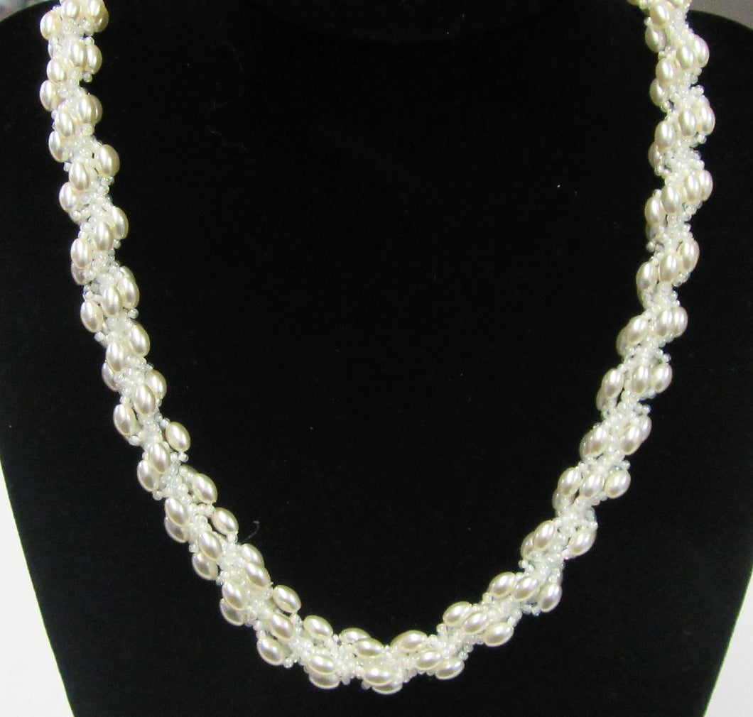 Beautiful handcrafted white rice pearl Jewellery Set