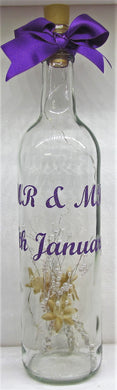 Handcrafted wedding light up bottle made to order with the wording of your choice