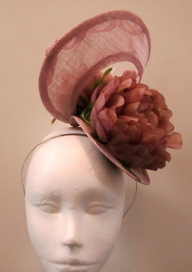 Handcrafted dusky pink twist fascinator with flowers on a headband