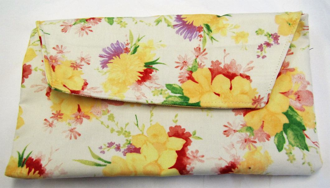 Beautiful handcrafted cream floral clutch bag