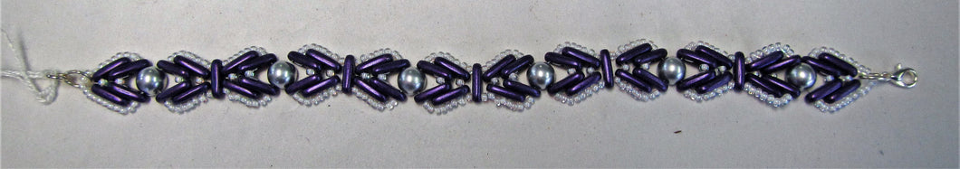 Purple white and silver beaded handcrafted bracelet