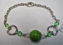 Silver chain handmade bracelet with green beads and hearts