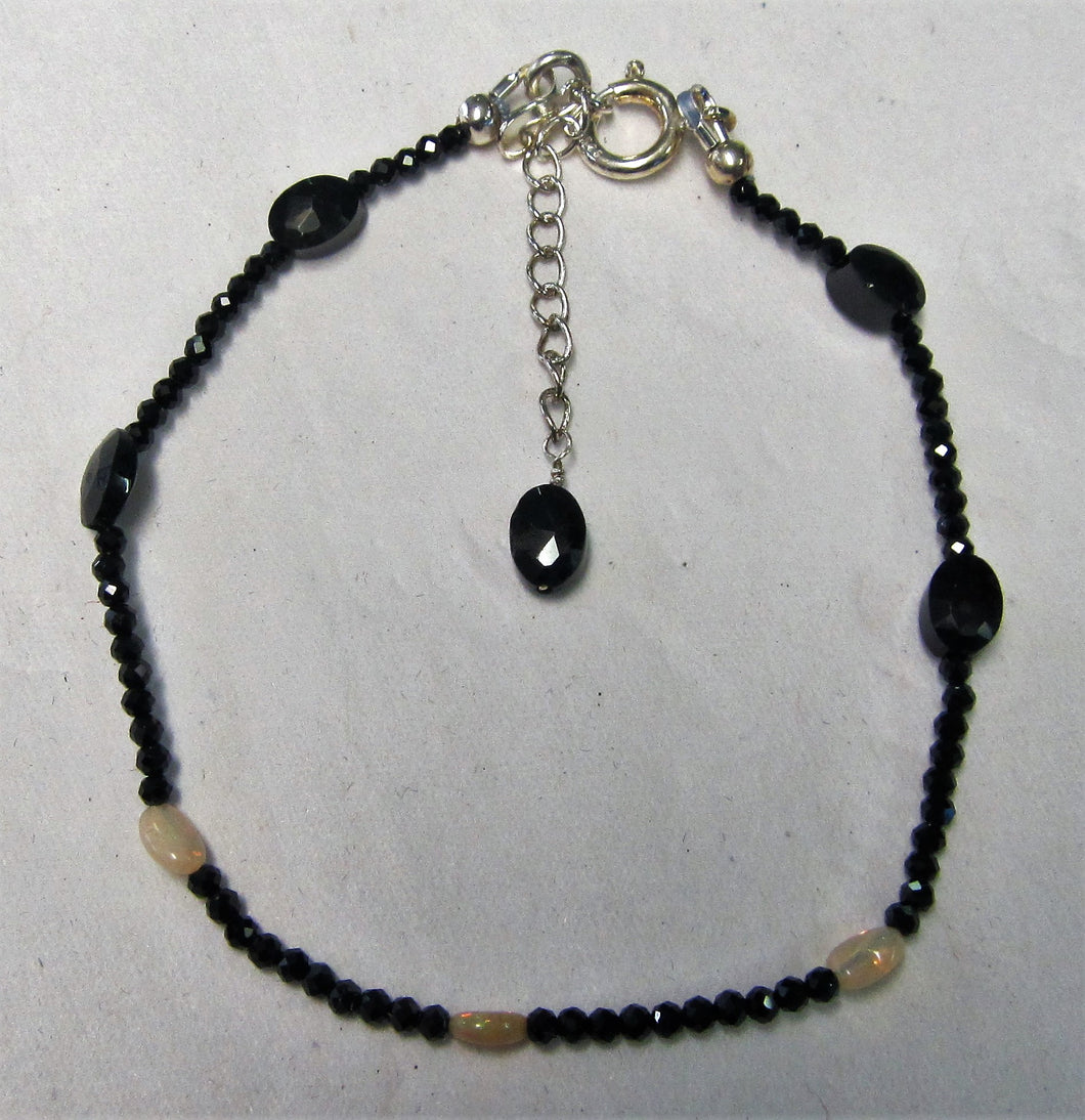 Beaded Bracelet - black spinel and Ethiopian opal beads