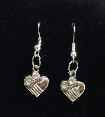 Silver hand hearts with 925 sterling silver hooks