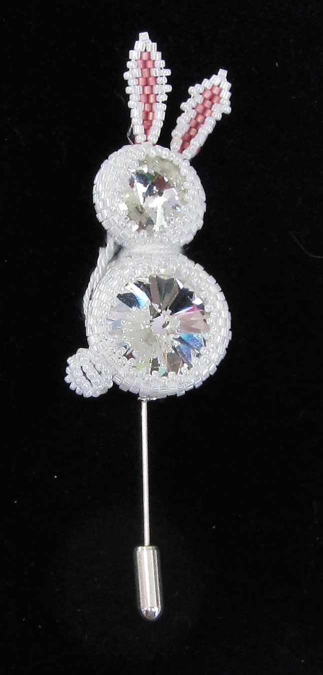 Beautiful handcrafted rabbit pin brooch made with white beads