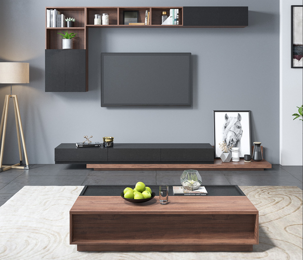 Modern L Style Tv Unit Or Matched Colour Pop Up Multi Space Coffee Tab Gday Furniture