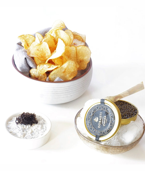 Potato Chips with Creme Fraiche & Caviar