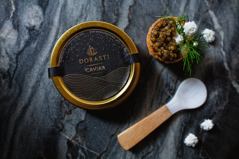 dorasti kaluga hybrid caviar with mother-of-pearl spoon