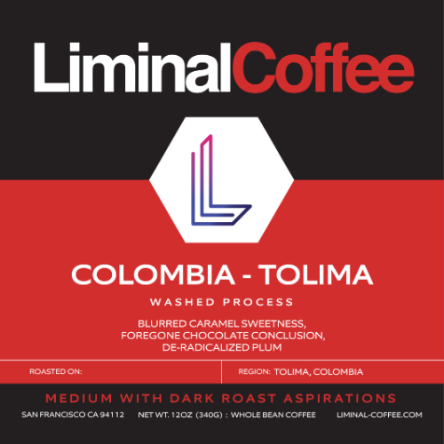 Limal Coffee, Label for Colombia - Tolima