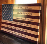 Pledge of Allegiance Engraved Flag