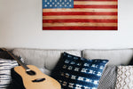 American Flag wall art above couch