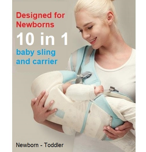 10 in 1 Newborn Convertible Baby carrier and Sling with Hip Seat