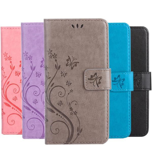 Leather Flip Cover Wallet Case for Samsung Galaxy Phones - Doodaddz