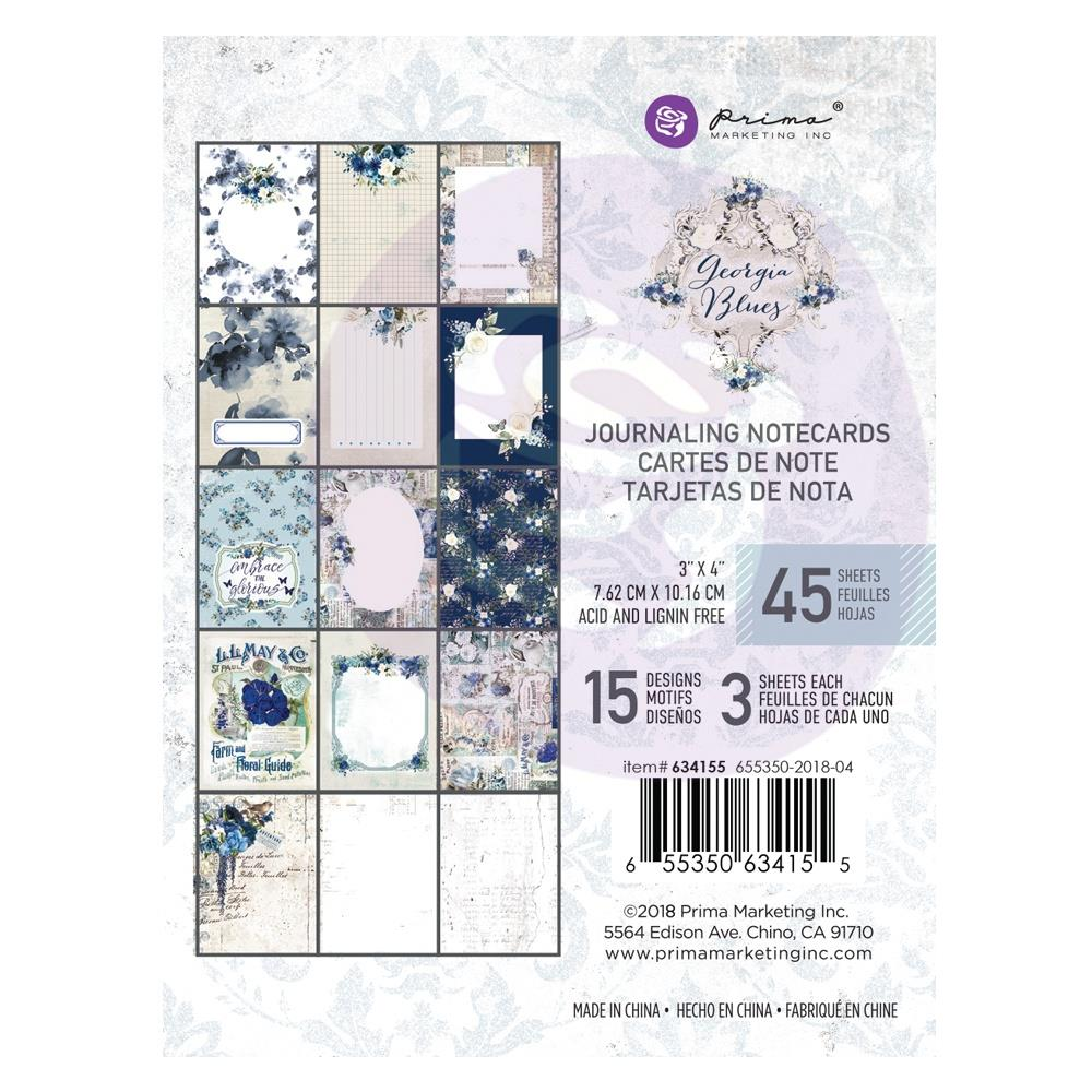 "New Prima Journaling Cards - 45 sheets - 3x4"" - Georgia Blue"