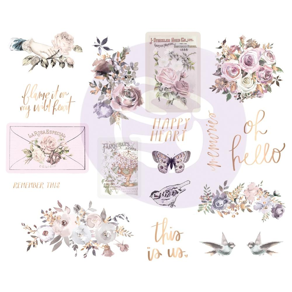 New Prima chipboard Stickers with foil accents - Prima - Lavender Frost