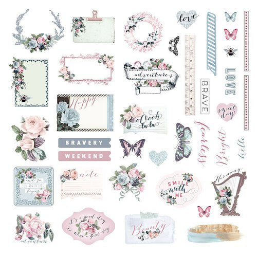 New Prima Ephemera and sticker sheet- 40 pcs - Poetic Rose 631734