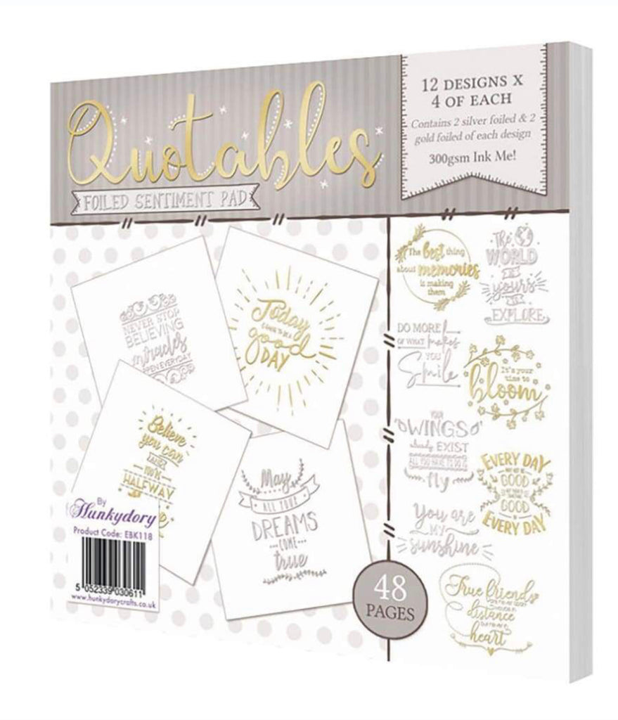 Hunkydory Foiled Sentiments Pad - 48 pack - Quotables - FCP107