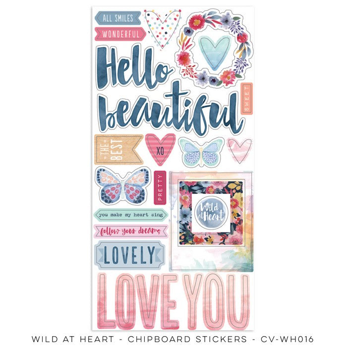 Wild at a Heart Collection - chipboard Accent sheet Cocoa Vanilla Studio- cv-Wh0