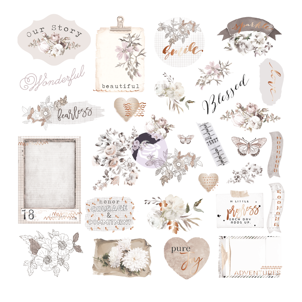 New Prima Ephemera and Acetate 40pcs - Pretty Pale 631819