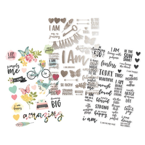 Simple Stories Clear Sticker Pack with foil accents - I am - 10042